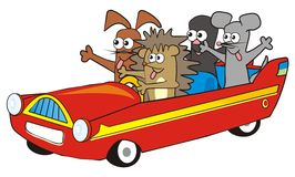 Red car and animals Stock Photography