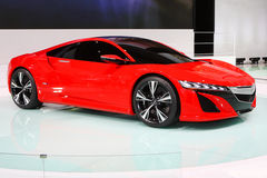 Red car in auto show Royalty Free Stock Photo