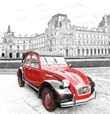 Red car on the background of the Louvre. Digital illustration in draw Stock Image