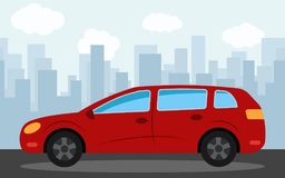 Red car in the background of skyscrapers in the afternoon. Vector illustration Stock Photo