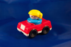 Red car blonde driver Stock Photo