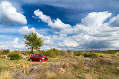 Red car blue sky Royalty Free Stock Photo