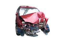 Red car The car was hit by an accident isolate on white background Royalty Free Stock Image
