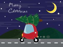 The cute red car carry the Christmas tree on the road. vector illustration