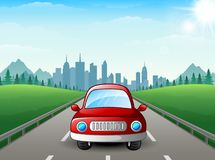 Red car cartoon on city background Royalty Free Stock Images
