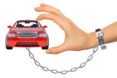 Red car in chained womens hand Stock Photo