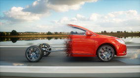 Red car chassis with engine on highway. Transition with particles. Very fast driving. Auto concept. 3d rendering. Stock Photo