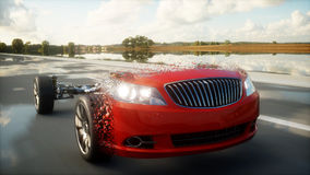 Red car chassis with engine on highway. Transition with particles. Very fast driving. Auto concept. 3d rendering. Stock Images