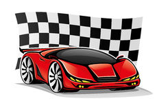 Red car and checkered flag. Red car and checkered flag on a white background Royalty Free Stock Photo