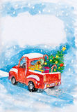 Red car and christmas tree on snow. child drawing Royalty Free Stock Photo