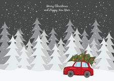 Red car with Christmas tree on the winter background. royalty free illustration