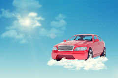 Red car on cloud Royalty Free Stock Images