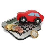 A red car with coins and calculator Royalty Free Stock Image