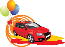 Red car with colorful balls Stock Photography