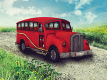 Red car on a country road Royalty Free Stock Images