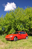 Red car in the countryside. Summer day royalty free stock photography