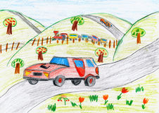 Red car on countryside and steam train, child drawing pencil on paper Royalty Free Stock Photos