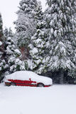 Red car covered in snow Stock Image