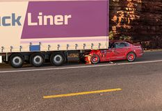 Red car crashed on big truck On the road with environment royalty free stock photos