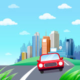 Red Car. Cute Little Red Ccar on a Country Road in a Beautiful Environment. Driving out of Town. Going green vector illustration