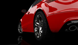 Red car. 3D rendering of a red car on a black background Stock Photography