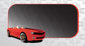 Red car and dark banner. With place for your text Royalty Free Stock Photography