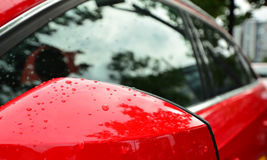 Red car (detail mirrors) Royalty Free Stock Photo