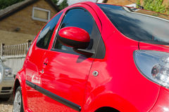 Red car details. Small red car details view Stock Photo