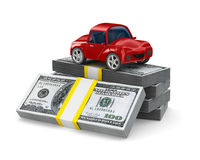Red car on dollars Stock Photography