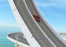 Red car driving on the loop bridge for challenge concept. 3D rendering image Royalty Free Stock Images