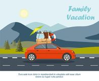 Red car driving with luggage on the road. Mountain landscape with fir forest. Vector Illustration Royalty Free Stock Photo