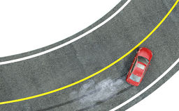 Red car enters the turn with skid. 3d Royalty Free Stock Image