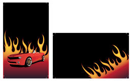 Red car on the fire background. With place for your text Royalty Free Stock Photo