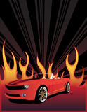 Red car on the fire background. With place for your text Royalty Free Stock Images