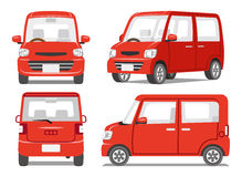 Red car four angle set Royalty Free Stock Photos