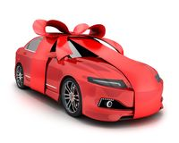 Red car and gift bow and ribbon Stock Photography