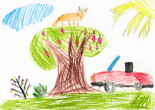 Red car on a glade. children drawing Stock Photos