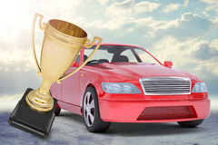 Red car and gold Cup Royalty Free Stock Photography