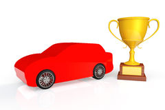 Red car with gold trophy Stock Photo