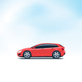 Red Car Hatchback Side View Stock Photo