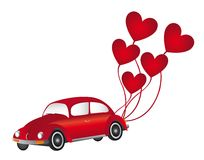 Red car with heart balloons Royalty Free Stock Image
