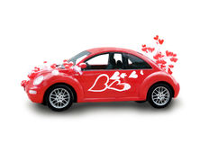 Red car with hearts. Red car with balloon's hearts royalty free stock images