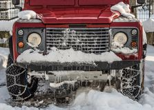 Red car with ice Stock Photography