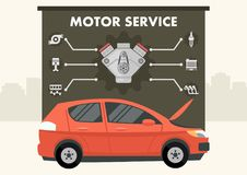 Red car with infographics of motor service vector royalty free illustration