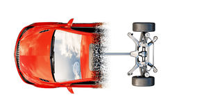 Red car isolate. Transition with particles. Auto concept. 3d rendering. Red car isolate. Transition with particles. Auto concept. 3d rendering Stock Image