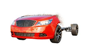 Red car isolate. Transition with particles. Auto concept. 3d rendering. Royalty Free Stock Image