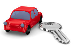 Red car and key on white background Royalty Free Stock Images