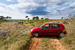 Red car landscape Stock Photography