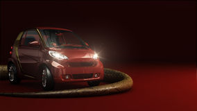 Red car with light and snake