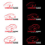 Red car line logo on black and white background Stock Image